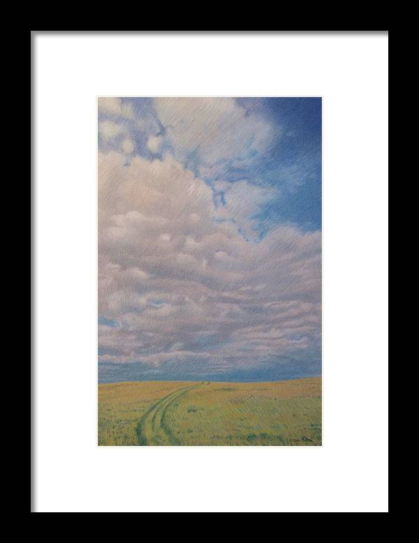 North Dakota Framed Print featuring the pastel Prairie Trail by Cris Fulton