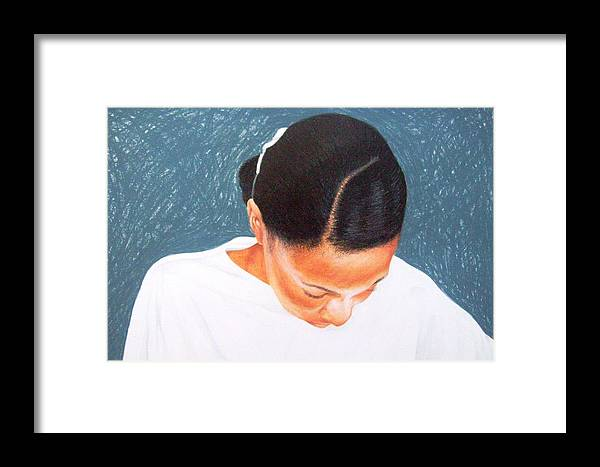 Figurative Framed Print featuring the drawing Praise 2 by Sylvester Hickmon