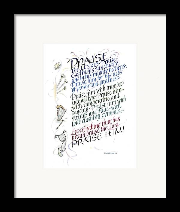 Achievement Framed Print featuring the painting Praise The Lord by Judy Dodds