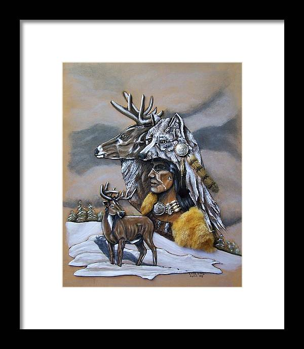 Portraits Framed Print featuring the painting Pray For The Deer. by Lilly King