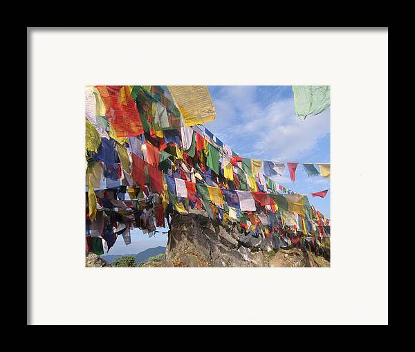 Prayer Flags Framed Print featuring the photograph Prayer Flags In Happy Valley by Art Nomad Sandra Hansen