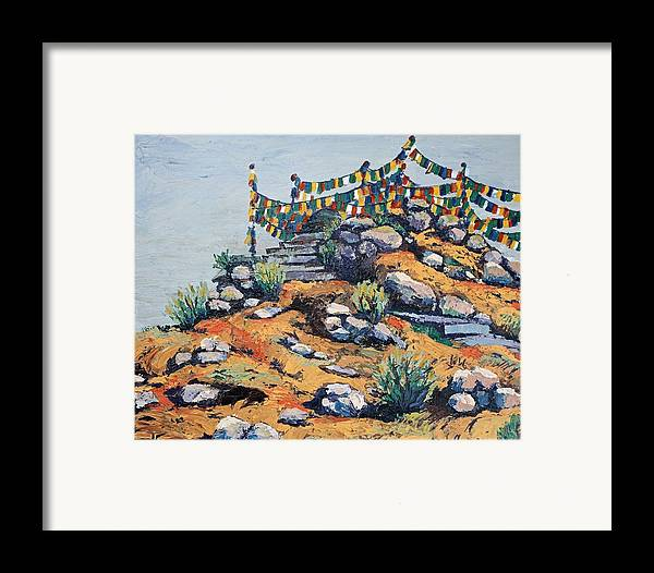 Buddhist Framed Print featuring the painting Prayer Flags In The Mist by Art Nomad Sandra Hansen