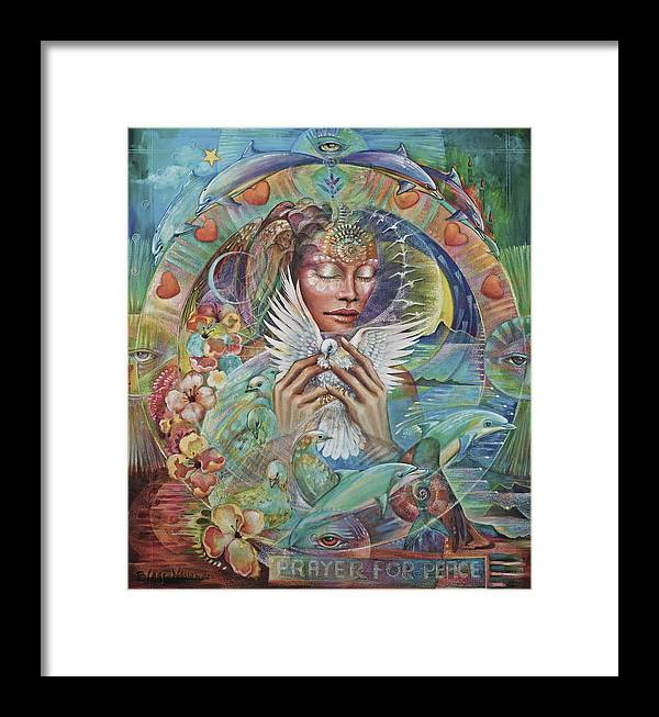 Dove Framed Print featuring the painting Prayer For Peace by Blaze Warrender