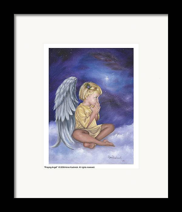 Christmas Framed Print featuring the painting Praying Angel by Anne Kushnick