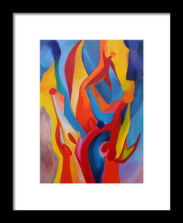 Abstract Framed Print featuring the painting Praying For Guidance by Peter Shor