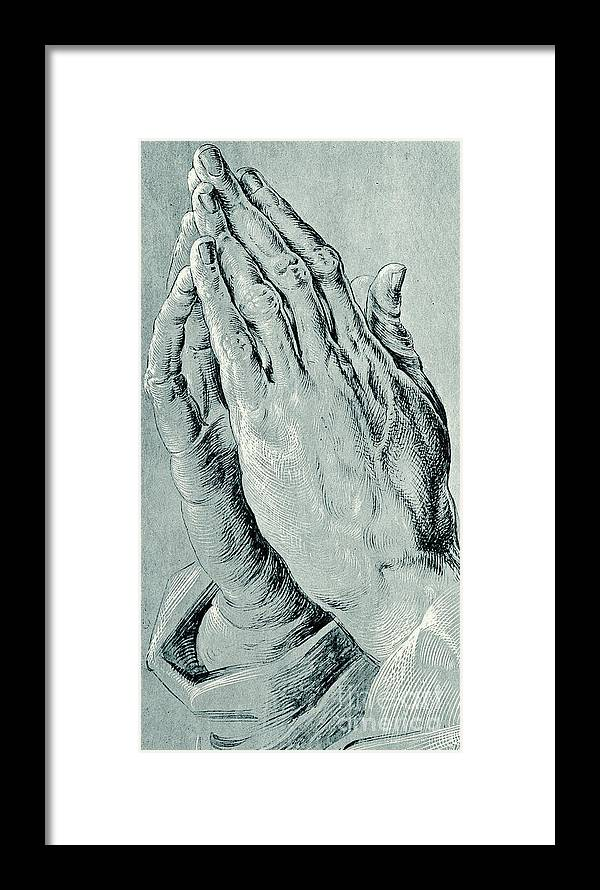 Hands Framed Print featuring the drawing Praying Hands, Also Known As Study Of The Hands Of An Apostle by Albrecht Durer