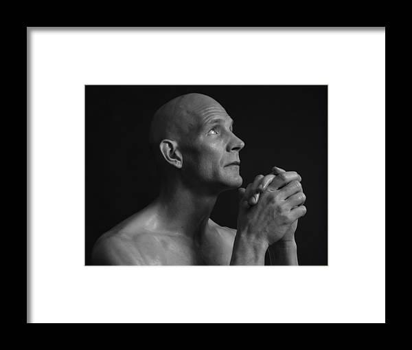 Man Framed Print featuring the photograph Praying Man Bnw by Robert Gebbie