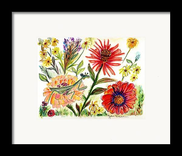 Flowers Nature Botany Drawing Julie Richman Flora Pencil Framed Print featuring the painting Praying Mantis Flowers54 by Julie Richman