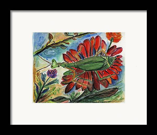 Insects Framed Print featuring the painting Praying Mantis Welcome - Closeup by Julie Richman