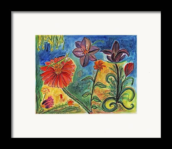 Insects Framed Print featuring the painting Praying Mantis Welcome by Julie Richman