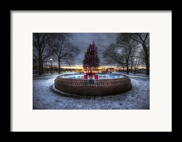 Prescott Framed Print featuring the photograph Prescott Park Christmas Tree by Eric Gendron