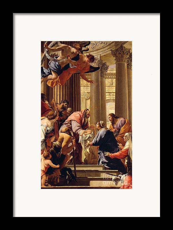 Presentation In The Temple (oil On Canvas) Jesus Christ; Mary; Joseph; Infant; Baby; Angels Framed Print featuring the painting Presentation In The Temple by Simon Vouet