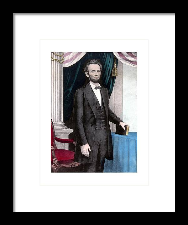 Abraham Lincoln Framed Print featuring the painting President Abraham Lincoln In Color by War Is Hell Store