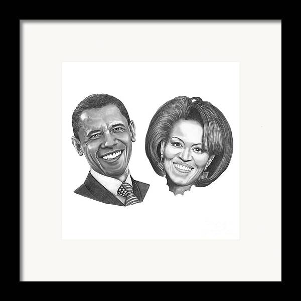 Drawings Framed Print featuring the drawing President And First Lady Obama by Murphy Elliott