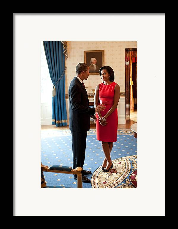 History Framed Print featuring the photograph President And Michelle Obama Talk by Everett