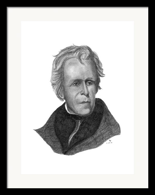President Framed Print featuring the drawing President Andrew Jackson by Charles Vogan