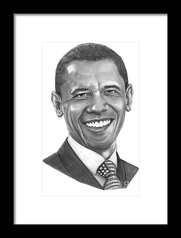 Drawing Framed Print featuring the drawing President Barack Obama By Murphy Art. Elliott by Murphy Elliott