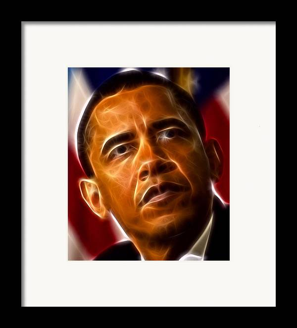 Obama Framed Print featuring the mixed media President Barack Obama by Pamela Johnson