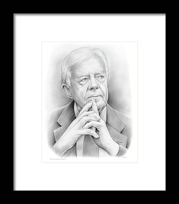 Jimmy Carter Framed Print featuring the drawing President Carter by Greg Joens