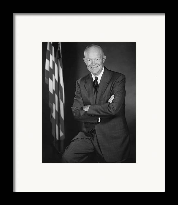 Eisenhower Framed Print featuring the painting President Eisenhower And The U.s. Flag by War Is Hell Store