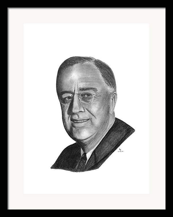 President Framed Print featuring the drawing President Franklin Roosevelt by Charles Vogan
