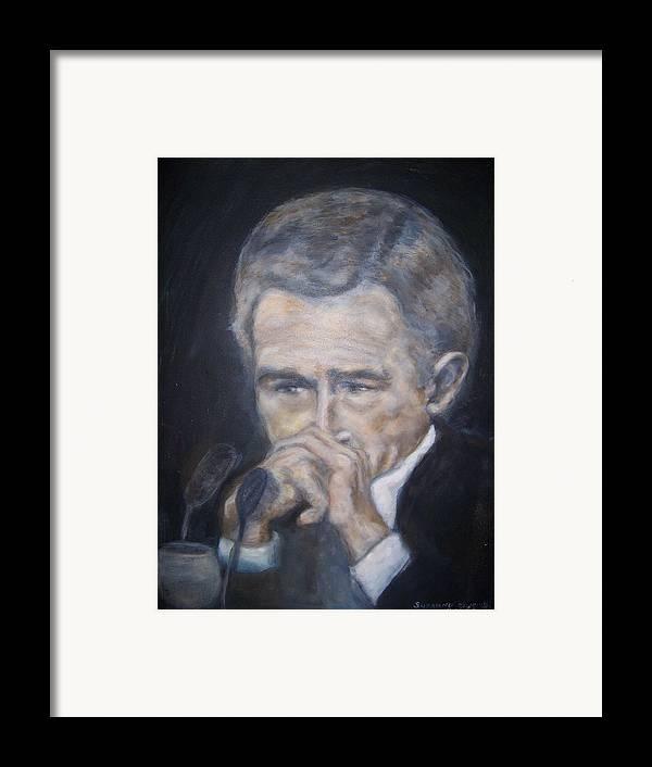 President George Bush Framed Print featuring the painting President George Bush by Suzanne Reynolds