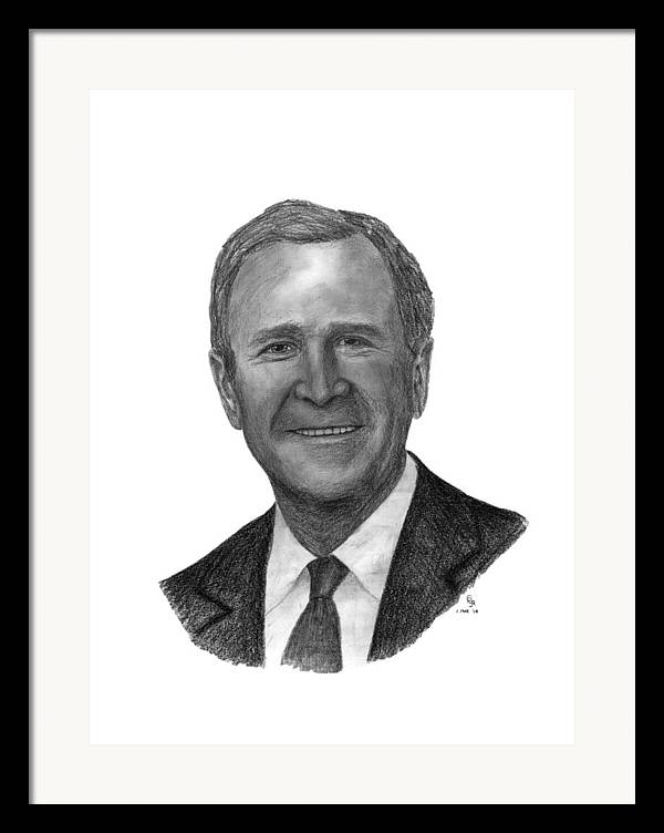 President Framed Print featuring the drawing President George W Bush by Charles Vogan