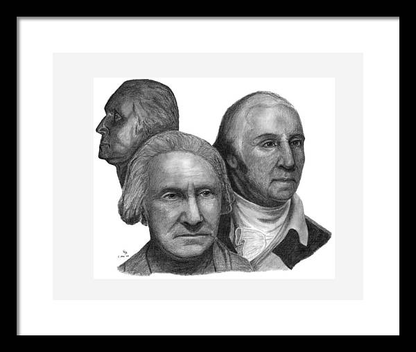 Washington Framed Print featuring the drawing President George Washington by Charles Vogan