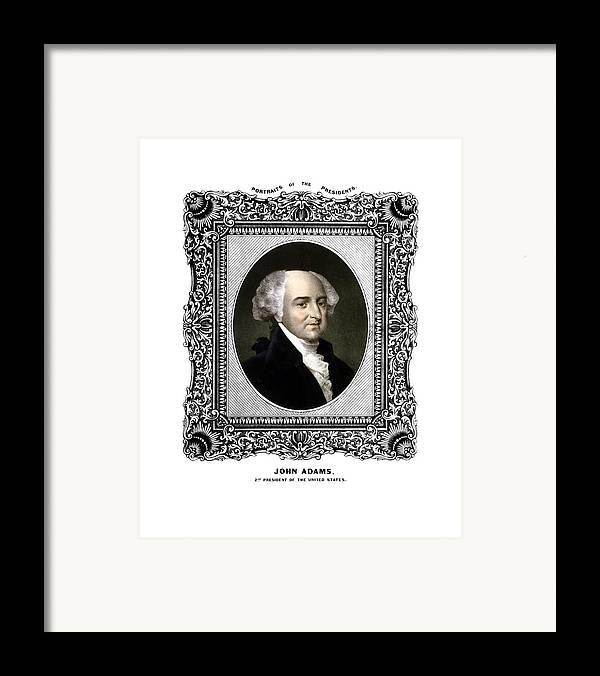 John Adams Framed Print featuring the painting President John Adams Portrait by War Is Hell Store