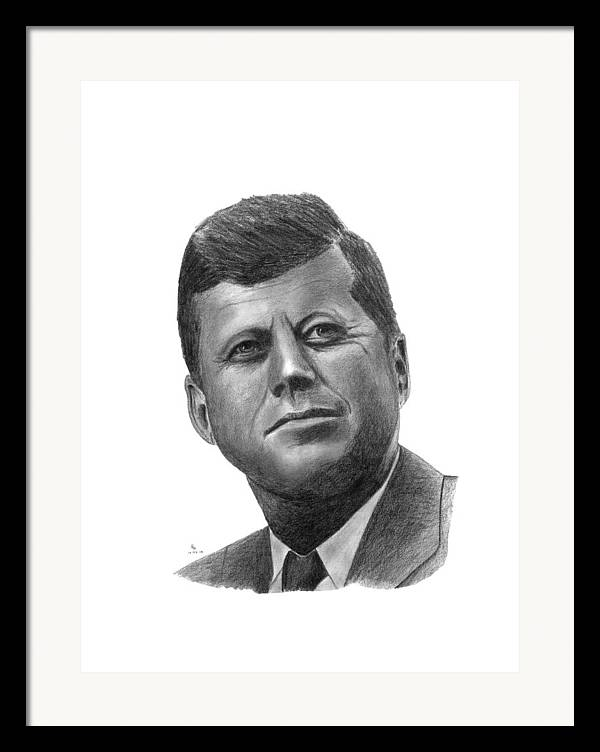 President Framed Print featuring the drawing President John Kennedy by Charles Vogan