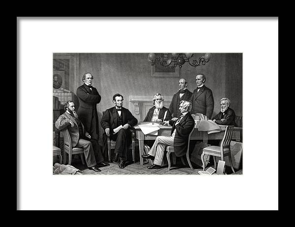 Abraham Lincoln Framed Print featuring the drawing President Lincoln and His Cabinet by War Is Hell Store