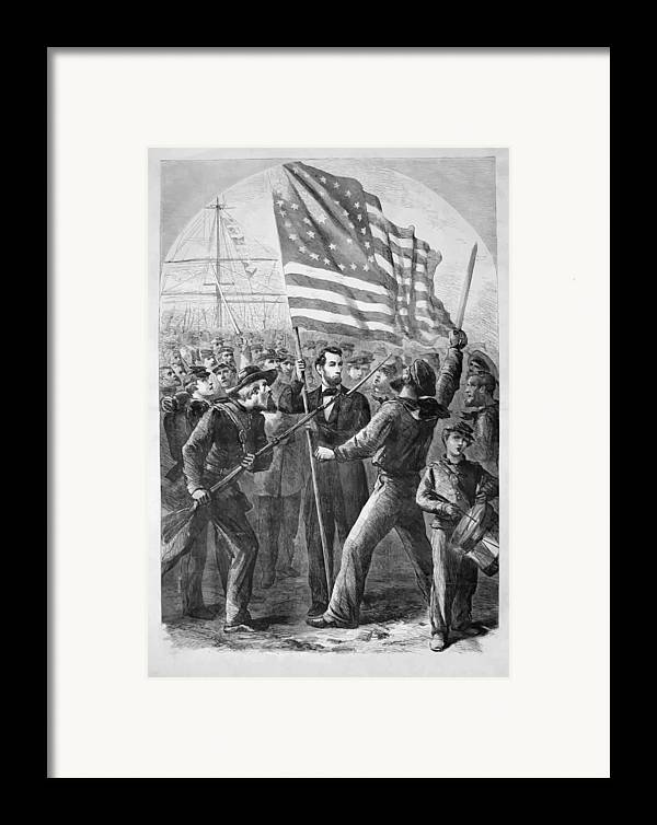 Abraham Lincoln Framed Print featuring the painting President Lincoln Holding The American Flag by War Is Hell Store