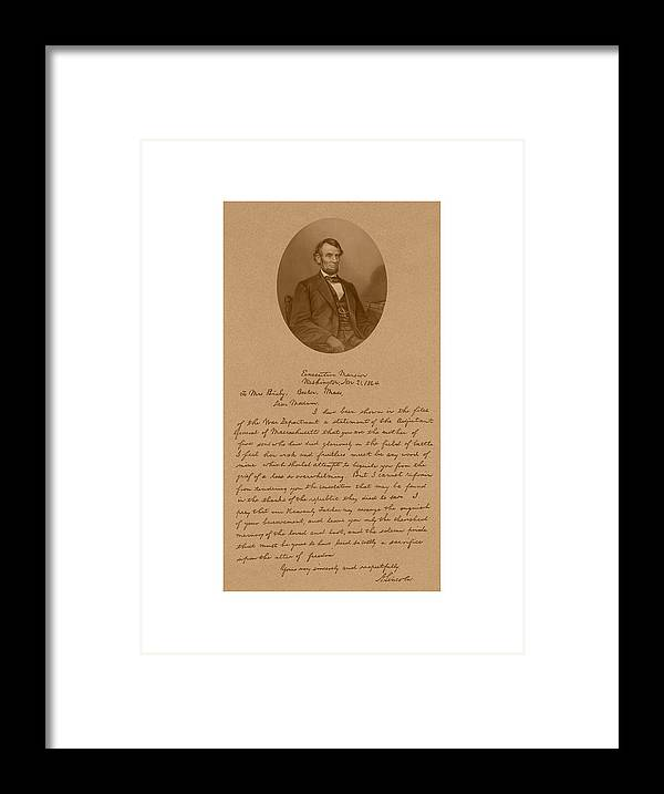 Bixby Letter Framed Print featuring the mixed media President Lincoln's Letter To Mrs. Bixby by War Is Hell Store