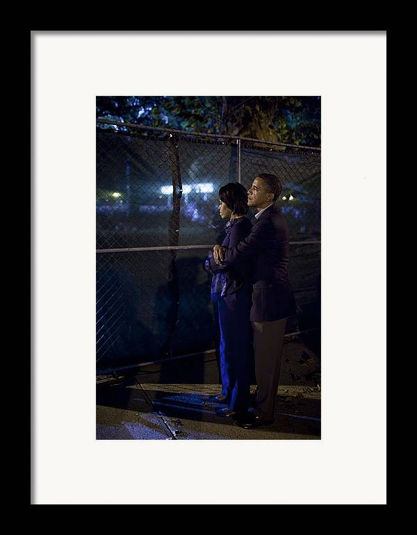 History Framed Print featuring the photograph President Obama Embraces Michelle by Everett