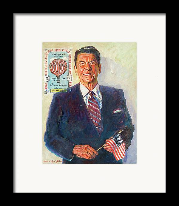 Presidents Framed Print featuring the painting President Reagan Balloon Stamp by David Lloyd Glover