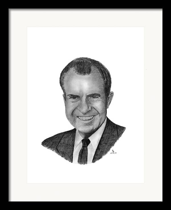 President Framed Print featuring the drawing President Richard Nixon by Charles Vogan