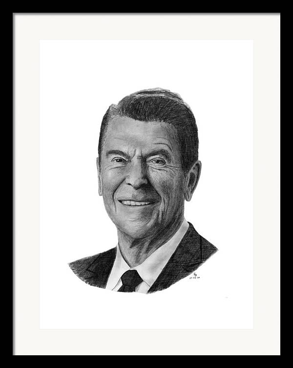President Framed Print featuring the drawing President Ronald Reagan by Charles Vogan