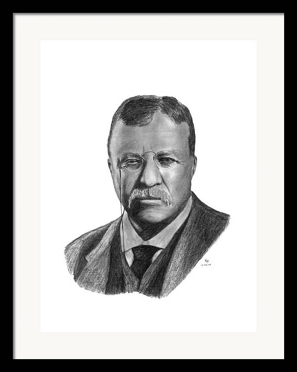 President Framed Print featuring the drawing President Theodore Roosevelt by Charles Vogan