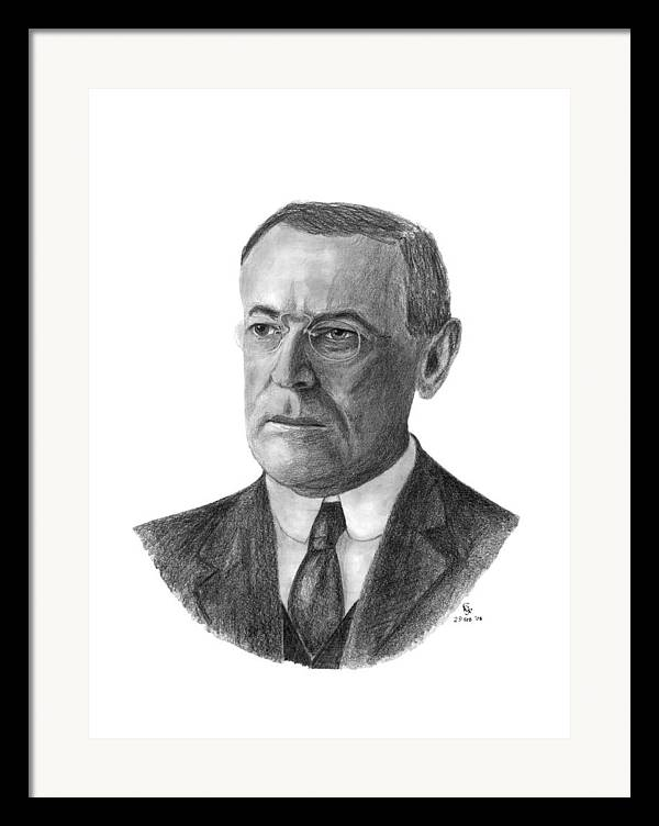 President Framed Print featuring the drawing President Woodrow Wilson by Charles Vogan