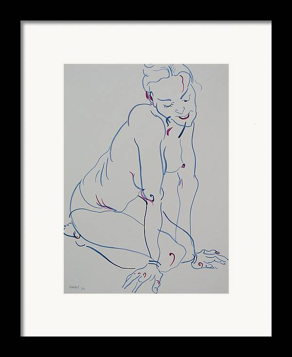 Woman Framed Print featuring the drawing Pretty Nude Woman by Vitali Komarov