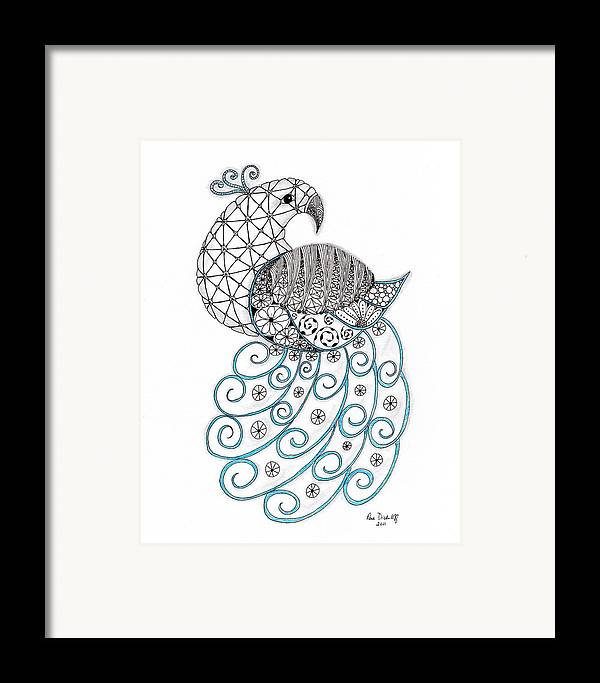Peacock Framed Print featuring the drawing Pretty Peacock by Paula Dickerhoff