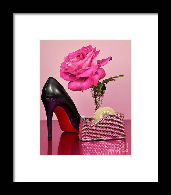 Pink Framed Print featuring the photograph Pretty Pink Bling Office Accessories by Milleflore Images