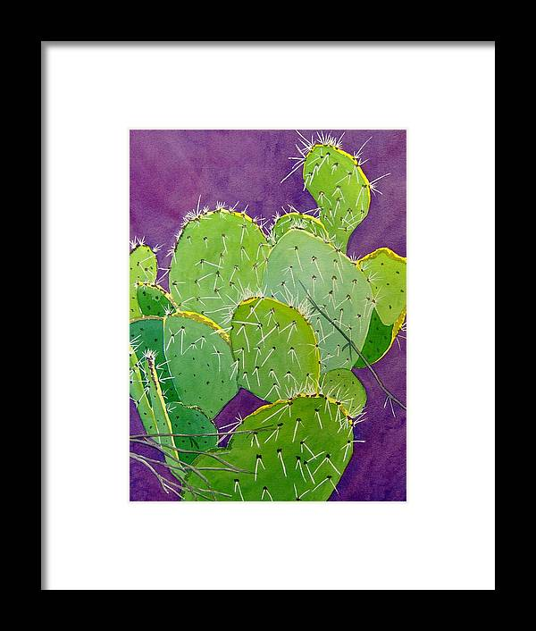 Cactus Framed Print featuring the painting Prickly Pear Cacti by Mary Beth Dolan