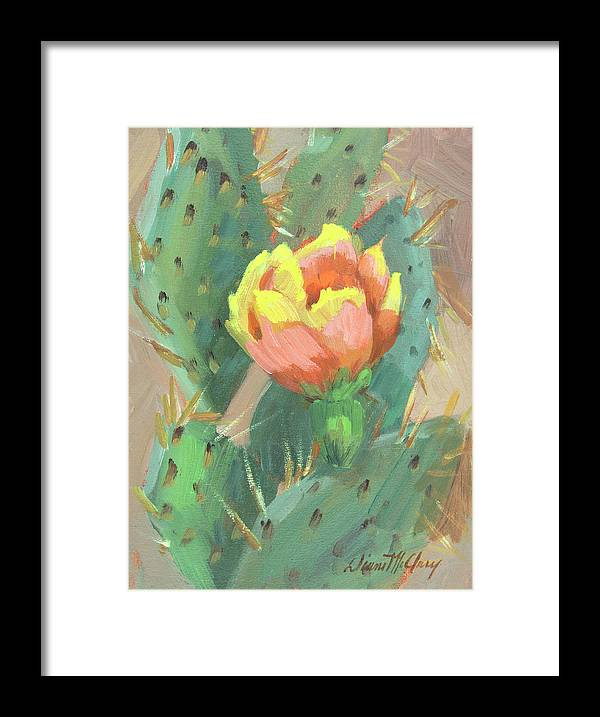 Cactus Framed Print featuring the painting Prickly Pear Cactus Bloom by Diane McClary