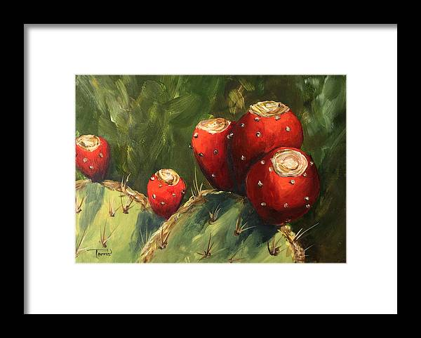 Prickly Pear Framed Print featuring the painting Prickly Pear III by Torrie Smiley