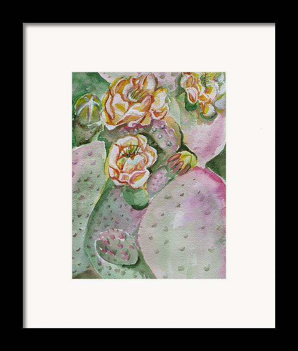 Cactus Flower Framed Print featuring the painting Prickly Pear by Kathy Mitchell