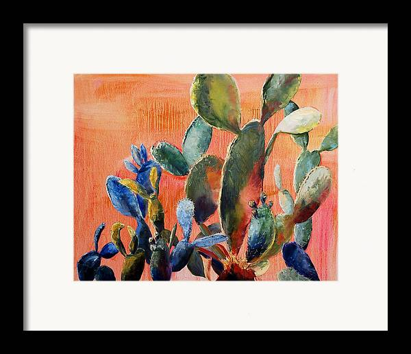 Cactus Framed Print featuring the painting Prickly Pear by Lynee Sapere