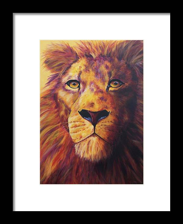Lion Framed Print featuring the painting Pride by Wendi Curtis