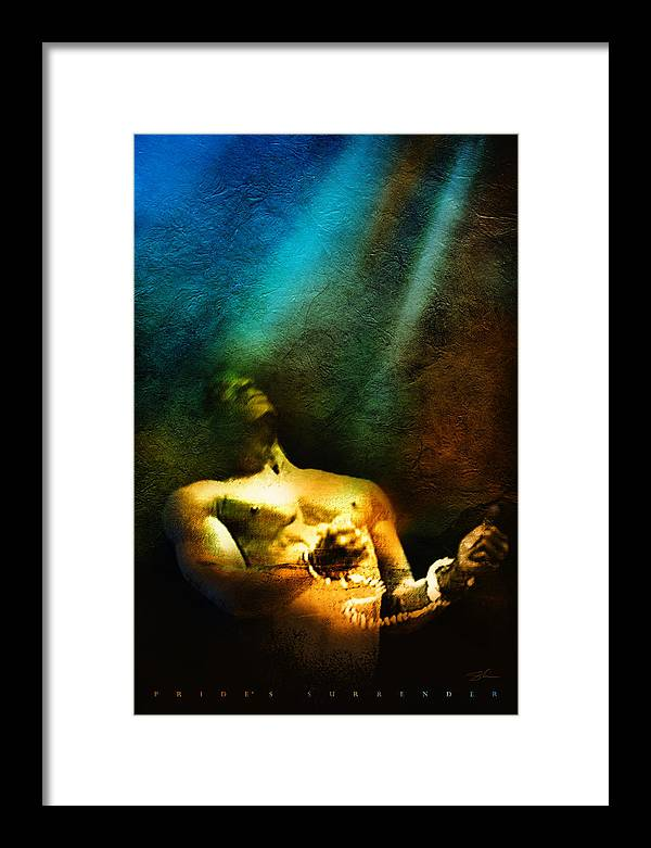 Pride Framed Print featuring the mixed media Pride's Surrender by Shevon Johnson