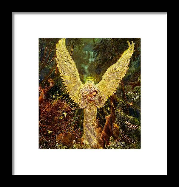 Angel Tarot Card Framed Print featuring the painting Priestess Of The Woods-angel Tarot Card by Steve Roberts